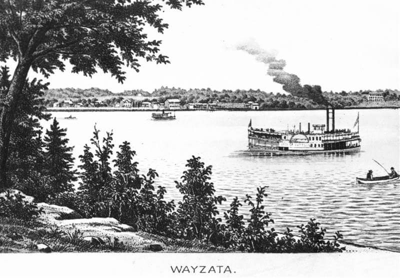 Engraving of steam boats on Lake Minnetonka with Wayzata in background, circa 1880.