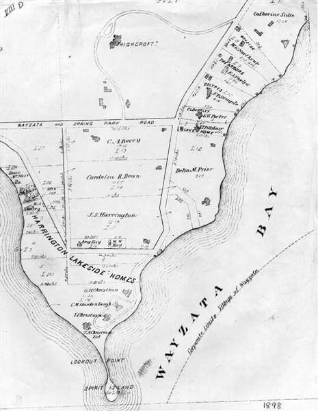 Plat map of Highcroft area of Wayzata, circa 1898.