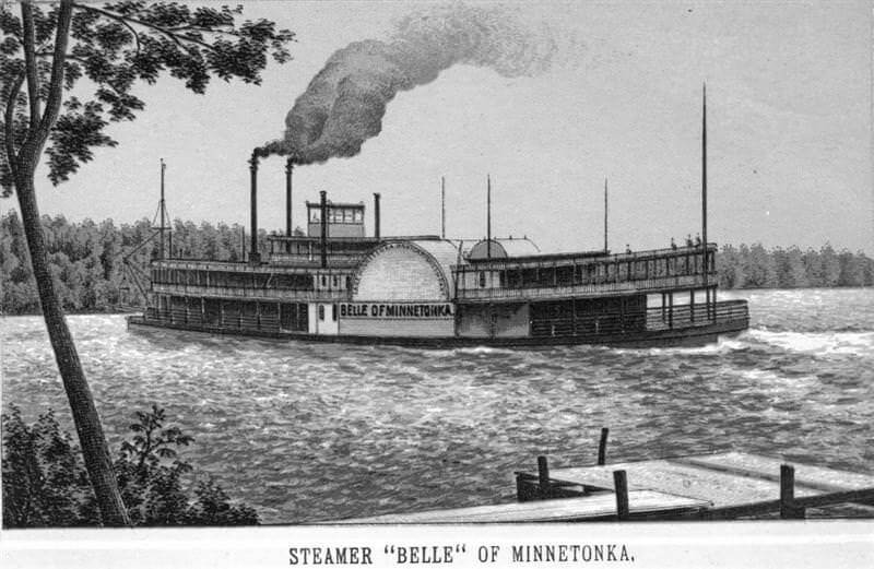 "Steam boat ""Belle"" on Lake Minnetonka, circa 1880."