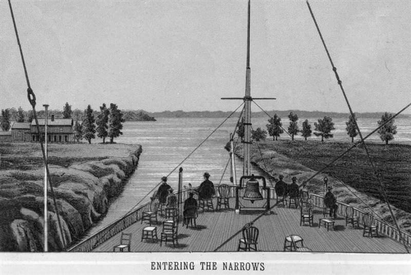 Engraving of boat going through he narrows on Lake Minnetonka, circa 1880.