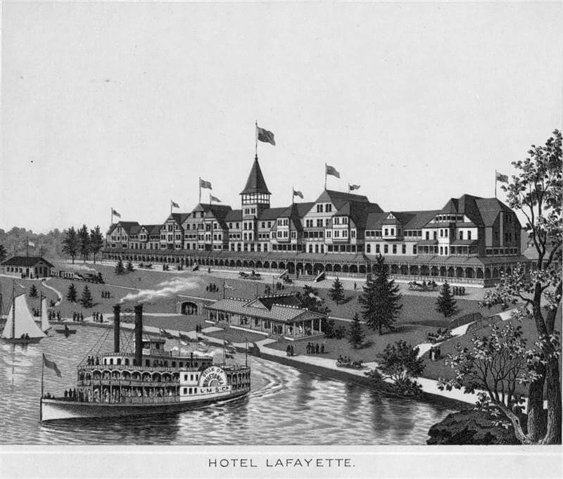Engraving of Hotel Lafayette and steam boat on Lake Minnetonka in Wayzata, circa 1880.