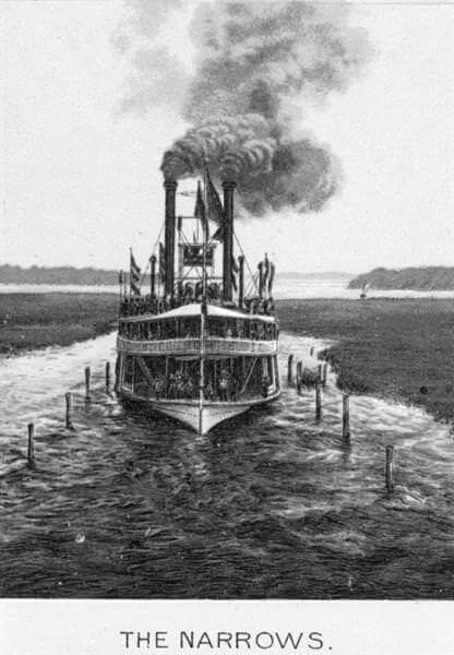 Engraving of steam boat navigating the Narrows on Lake Minnetonka, circa 1880.