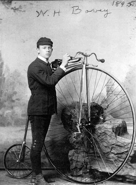 William Bovey with his high-wheeled bike, 1895