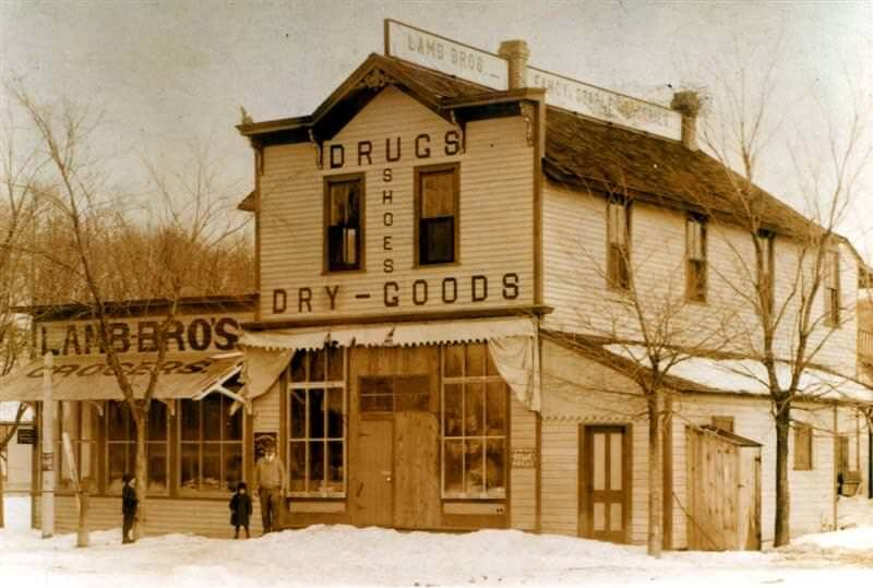 Lamb Brothers grocery and drug store on Lake Street, about 1900