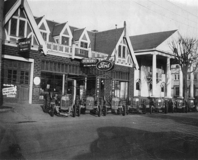 Retinger Ford dealership, Public Library and Post Office in Wayzata, circa 1940