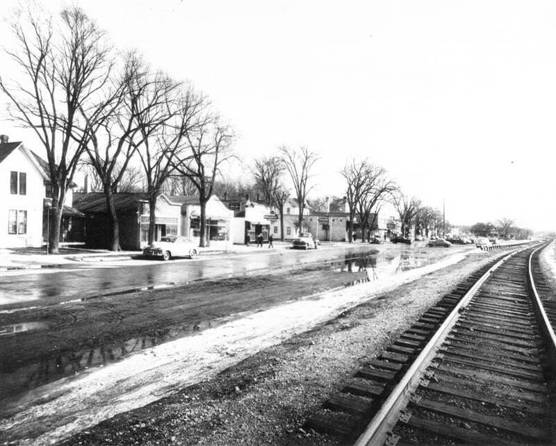 View down train tracks and Lake Street in Wayzata, circa 1960.
