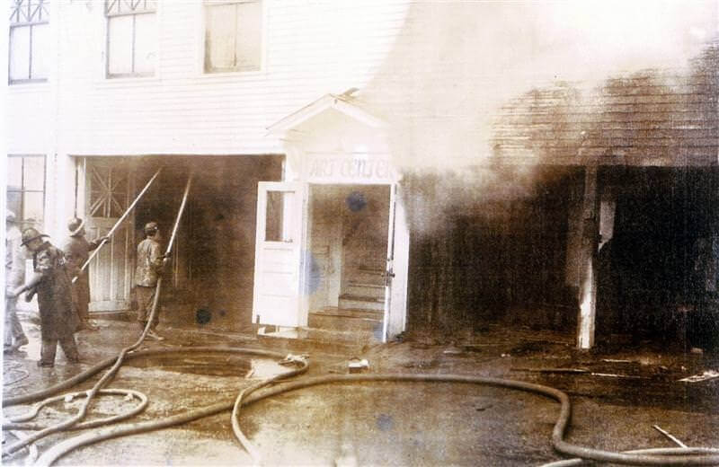 Fighting fire at the Village Hall, 1955