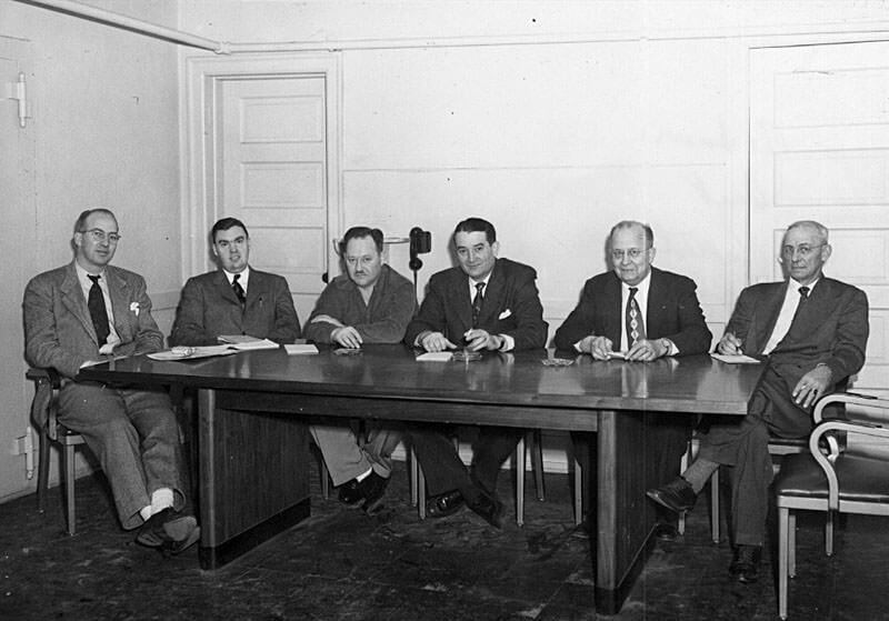 1950 Council - Wayne Blackmarr, John Hunt, Dr. H. O. Kallsted, Mike Vukas, Fred Linscog and Irving Elliott